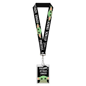 Disney Designer Lanyard ID Pouch Charm Set - The Mandalorian - Baby Yoda Protect Snack Attack