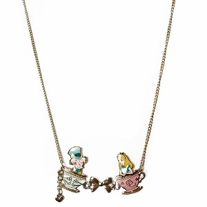 Disney Necklace - Alice and Mad Hatter in Tea Cups - 18'' Gold Tone