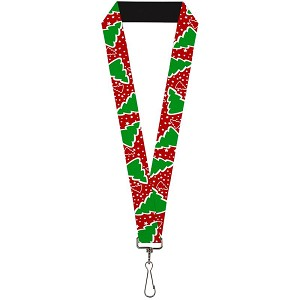 Designer Lanyard - Red with Green Christmas Trees and White Stars