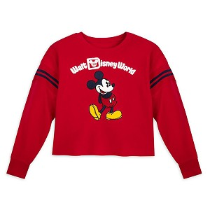 Disney Women's Cropped Pullover - Mickey Mouse - Red
