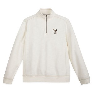 Disney Men's Half Zip Sweatshirt by Tommy Bahama - Mickey Mouse Tobago Bay - Cream