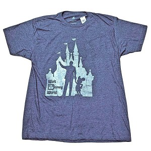 Disney Adult Shirt - Walt and Mickey Partners Castle Silhouette Tee