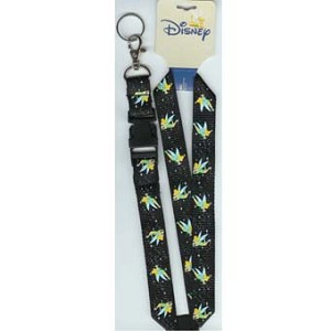 Disney Lanyard - Black with Tinker Bell Flying