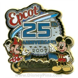 Disney Epcot Pin - 25th Anniversary - Mickey Mouse and Minnie Mouse