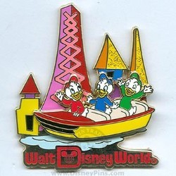 Disney Attraction Pin - Retro - Fantasyland with Huey, Dewey & Louie