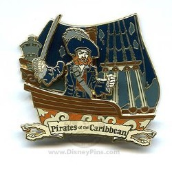 Disney Pirates of the Caribbean Pin - Attraction - Barbossa on ship