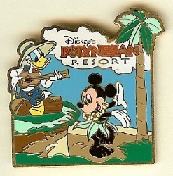 Disney Resort Pin - Polynesian Resort - Donald & Mickey