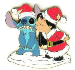 Disney Stitch Pin - Lilo Kissing Santa Stitch
