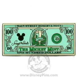 Disney Mickey Mint Pin - $100 Dollar Bill - Donald