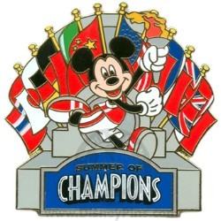 Disney Summer of Champions Pin - Mickey with Flags
