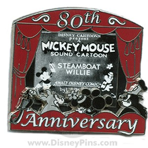Disney Mickey Pin - 80th Anniversary - Steamboat Willie