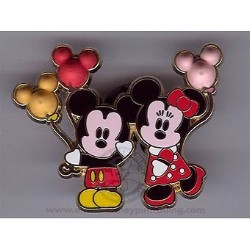 Disney Mickey & Minnie Pin - Cute Characters - Balloons