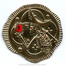 Disney Pirates Pin - Gold Coin with Ruby Stone
