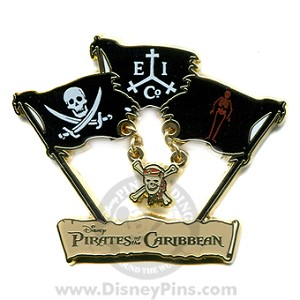 Disney Pirates Pin - Trilogy Flags