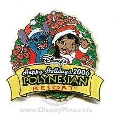 Disney Resort Christmas Wreath Pin - Polynesian Resort