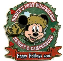Disney Resort Christmas Wreath Pin - Fort Wilderness & Campground