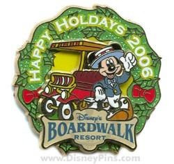 Disney Resort Christmas Wreath Pin - Boardwalk Resort