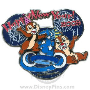 Disney Happy New Year Years Pin - Chip and Dale