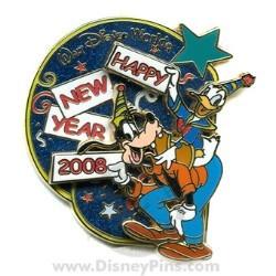 disney happy new year pin goofy and donald