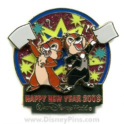 disney happy new year pin chip dale