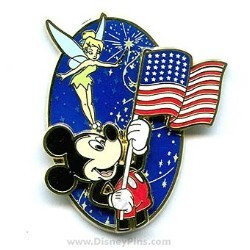 Disney Flag Day Pin - Mickey Mouse and Tinker Bell