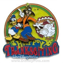 Disney Happy Thanksgiving Pin - Donald Duck and Goofy