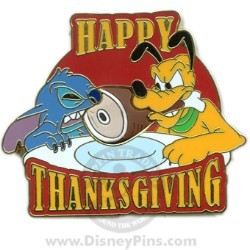 Disney Happy Thanksgiving Pin - 2008 Stitch and Pluto