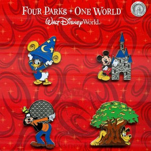 Disney Booster Pin Collection - Four Parks, One World