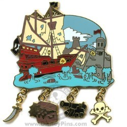 Disney Gold Card Pin - Attraction Charms - Pirates of the Caribbean