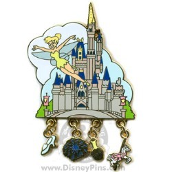 Disney Gold Card Pin - Attraction Charms - Cinderella Castle