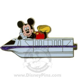 Disney Gold Card Pin - Purple Monorail - Mickey Mouse