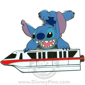 Disney Gold Card Pin - Red Monorail - Stitch