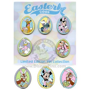 Disney Mystery Pin Collection - Easter 2008 - 8 Pin Set COMPLETE