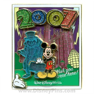 Disney White Glove Pin - Wish You Were Here - Mickey Haunted Mansion