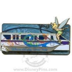 Disney White Glove Pin - Where Dreams Come True Monorail - TinkerBell