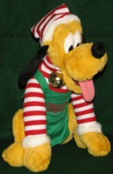 Disney Plush - Pluto - Santa's Little Helper - Candy Cane Striped Shirt