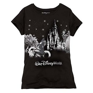 Disney Womens Shirt - Black Glitter Disney World Resort