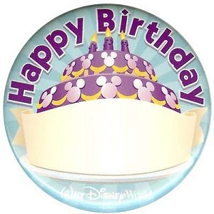 Disney Souvenir Button - Mickey - Happy Birthday
