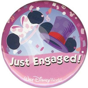 Disney Souvenir Button - Mickey and Minnie - Just Engaged