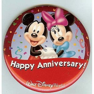 Disney Souvenir Button - Mickey and Minnie - Happy Anniversary