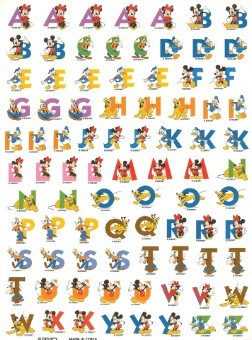 Disney Scrapbooking Stickers - Character Alphabet Sheet - 9 x 7
