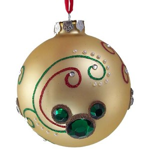 Disney Christmas Ornament -  Gold Ball With Jeweled Mickey Ears
