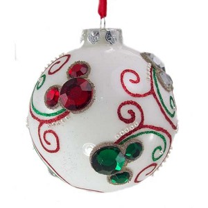 Disney Christmas Ornament - White Ball With Jeweled Mickey Ears