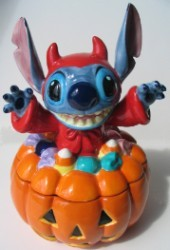 Disney Cookie Jar - Halloween Devil Stitch on Pumpkin