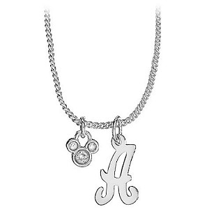 Disney Necklace - Silver Initial Crystal Mickey Mouse