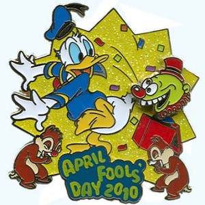 Disney Holiday Pin - April Fools Day 2010 - Donald and Chip and Dale