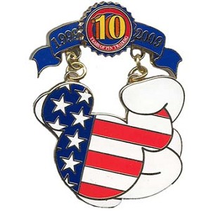 Disney Pin Trading 10th Anniversary Pin - Tribute - Mickey Flag Icon