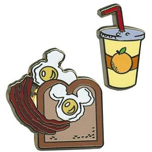 Disney Mickey Pin - Icons - Orange Juice and Toast