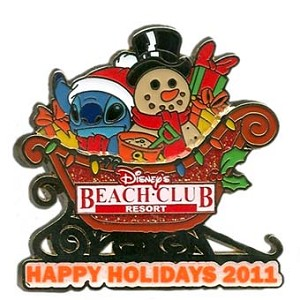 Disney Happy Holidays Pin - 2011 Beach Club Resort