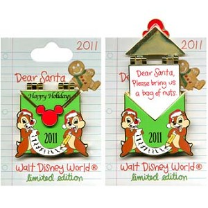 Disney Christmas Pin - Dear Santa - Chip 'n Dale